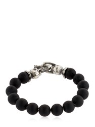 Emanuele Bicocchi Onyx Beads And Sterling Silver Bracelet