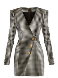 Balmain Houndstooth Buttoned Mini Dress Black White