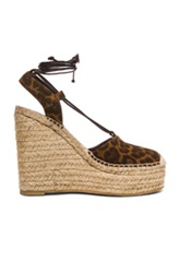 Saint Laurent Platform Leopard Suede Espadrilles In Brown Animal Print