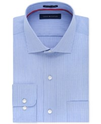 Tommy Hilfiger Men's Big And Tall Classic Fit Non Iron Blue Fine Stripe Dress Shirt