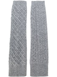 Pringle Of Scotland Cable Knit Gloves Cashmere Lambs Wool Grey