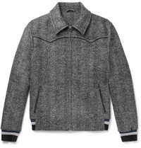 Lanvin Herringbone Virgin Wool Blend Jacket Gray