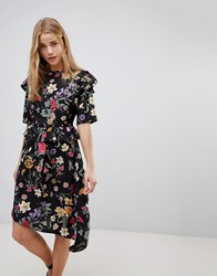 Influence Floral Asymmetric Midi Dress With Studded Belt Multi