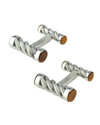 Hickey Freeman Stainless Steel Barrel Cuff Links W Tiger's Eye Silver