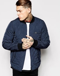 True Religion Reversible Bomber Jacket Quilted And Denim Navy
