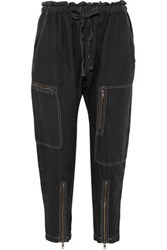 Current Elliott The Zip Cargo Linen Tapered Pants Black