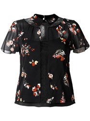 Red Valentino Floral Print Sheer Blouse Black