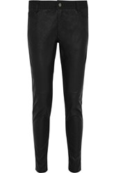 Michael Michael Kors Cotton Twill And Faux Leather Slim Fit Pants