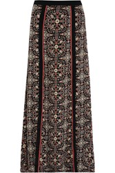 Talitha Raj Embroidered Printed Silk Georgette Maxi Skirt Black