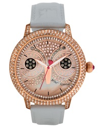 Betsey Johnson Ladies Rose Gold Tone And White Watch With Owl Dial