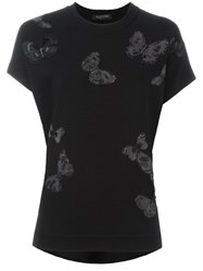 Valentino Butterfly Embroidered T Shirt Black