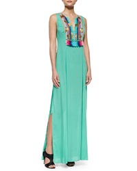 Shoshanna Boho Print Maxi Dress Mint Green