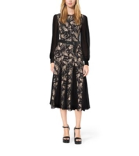 Michael Kors Floral Embroidered Silk Chiffon Dress Black Nude
