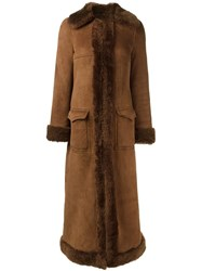 Saint Laurent Shearling Lined Long Coat Brown