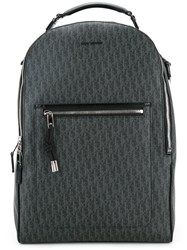 Christian Dior Homme Logo Printed Backpack Men Calf Leather Canvas One Size Grey