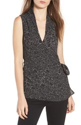 Trouve Wrap Top Black Scattered Lily Pads