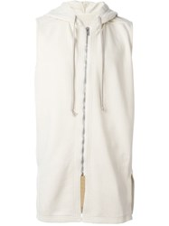 Rick Owens Drkshdw Sleeveless Hoodie Nude And Neutrals