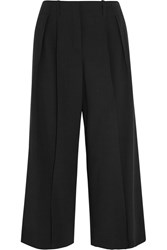 Michael Kors Cropped Wool Crepe Wide Leg Pants Black