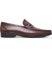Magnanni Side Buckle Leather Penny Loafers Mid Brown