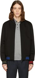 Fendi Black Zig Zag Bomber Jacket