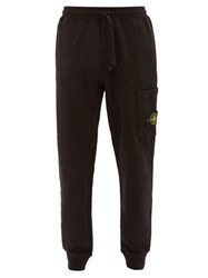 Stone Island Cargo Pocket Cotton Jersey Track Pants Black