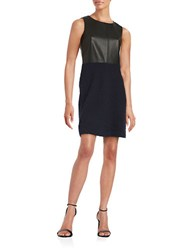 Tommy Hilfiger Faux Leather Sleeveless Sheath Dress Black Navy