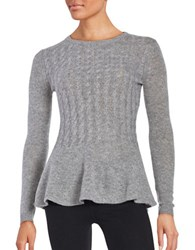 Ply Cashmere Cable Knit Peplum Sweater Flannel