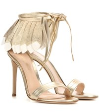 Gianvito Rossi Queen Metallic Leather Sandals Gold