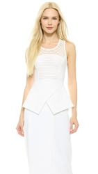 Yigal Azrouel Mesh Ottoman Peplum Top Optic