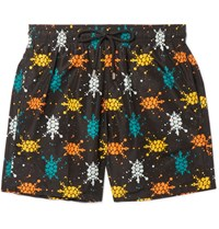 Vilebrequin Mahina Mid Length Printed Swim Shorts Black