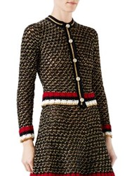 Gucci Web Lurex Blend Cardigan Black Gold