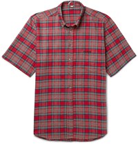 Vetements Oversized Button Down Collar Checked Cotton Flannel Shirt Red