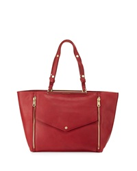 Cynthia Rowley Sasha Double Zip Leather Tote Bag Cherry Red