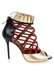 Malone Souliers Beryl Snakeskin And Leather Pumps Blue Red