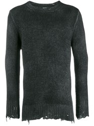 Avant Toi Destroyed Knit Sweater Black