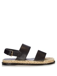 Valentino Rockstud Espadrille And Leather Sandals Black Multi