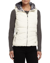Marc New York Marc Ny Performance Hooded Puffer Vest W Leopard Print Lining Ivory Leopard