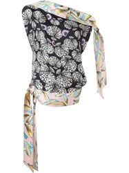 Emilio Pucci Asymmetric Printed One Shoulder Top Pink And Purple