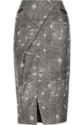 Maiyet Wrap Effect Wool And Silk Blend Jacquard Skirt Gray
