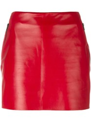 Barbara Bui Mini Leather Skirt Red