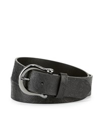 Robert Graham Vince Paisley Embossed Leather Belt Black
