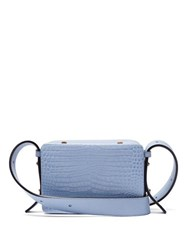 Lutz Morris Maya Crocodile Effect Leather Cross Body Bag Light Blue