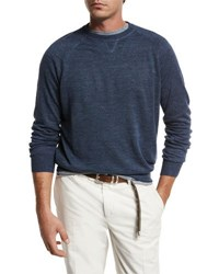 Brunello Cucinelli Linen Cotton Raglan Sweatshirt Bright Blue