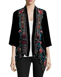 Johnny Was Cascading Embroidered Velvet Cardigan Black