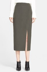 Women's Nordstrom Signature And Caroline Issa 'Zealander' Slim Wool Pencil Skirt Olive Tarmac