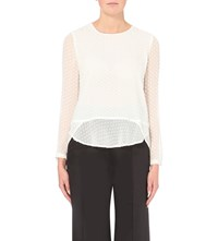 Whistles Dree Embroidered Chiffon Blouse Cream
