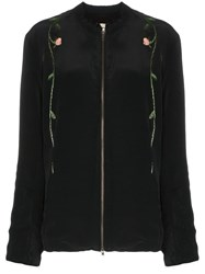 By Walid Floral Embroidered Jacket Black