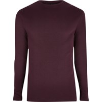 River Island Dark Red Slim Fit Long Sleeve T Shirt