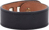 Valextra Grained Leather Bracelet Black