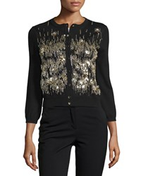 Oscar De La Renta 3 4 Sleeve Sequin Front Cardigan Black Gold Women's